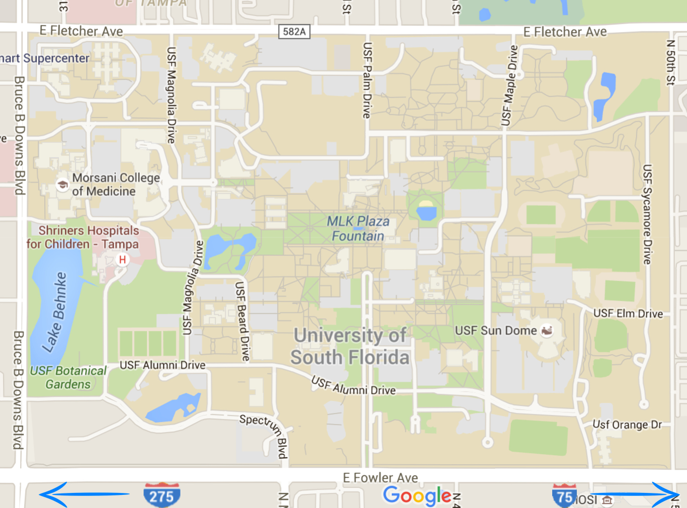 Map showing the University of South Florida's location