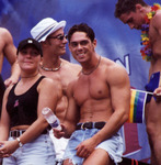 Spectators at gay pride parade