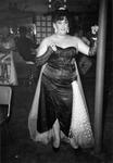 Drag queen in black strapless dress