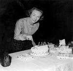 Mary cutting her birthday cake