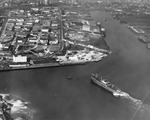 Aerial view of a cargo ship entering the Port of Tampa