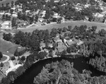 Aerial view of the Hillsborough River in Temple Terrace by Florida Christian College and a residential neighborhood