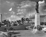 Columbus Memorial at Bayshore Boulevard and Platt Street, with downtown Tampa to the northeast