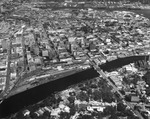 Downtown area and the eastern bank of the Hillsborough River, aerial view