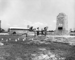 Greyhound bus tour at the 1935 hurricane victim memorial on the Overseas Highway in Upper Matecumbe Key