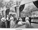 Photograph of an illustration of a party in the auditorium at the Tampa Bay Hotel