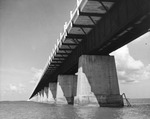 Underside view of the Overseas Highway leading to to Key West