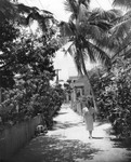 Woman in front of a house in Key West