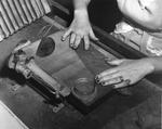 Woman cigar maker ready a tobacco leaf at Cuesta Rey and Company