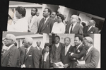 Four image collage of people gathered for a funeral.