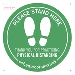 Physical Distancing Floor Decal Elevators Opt v7a 8-inch