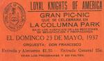 [Ticket] - Gran pic-nic que se celebrara en La Columna Park by Alice Menéndez and Loyal Knights of America (Tampa, Fla.)