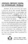 [Flier] - Soldado: Prevente contra las enfermedades venéreas by Spain. Jefatura de Sanidad del Ejército de Tierra