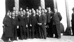 Photograph - Democratic Popular Committee to Aid Spain members posing in front of Labor Temple