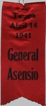 "Ribbon - ""Tampa Abril 14 1941 General Asensio"""