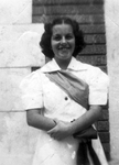 Photograph - Alice Menéndez in front of Knights of the Golden Eagle Lodge