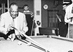 Count Basie playing billiards in University Center