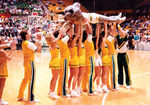Cheerleaders and Rocky at basketball game