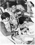 Cramped conditions in men's dorm, 1980