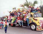 Flatbed truck as homecoming float, circa 1985