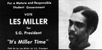 Advertisement for Les Miller as Student Government President